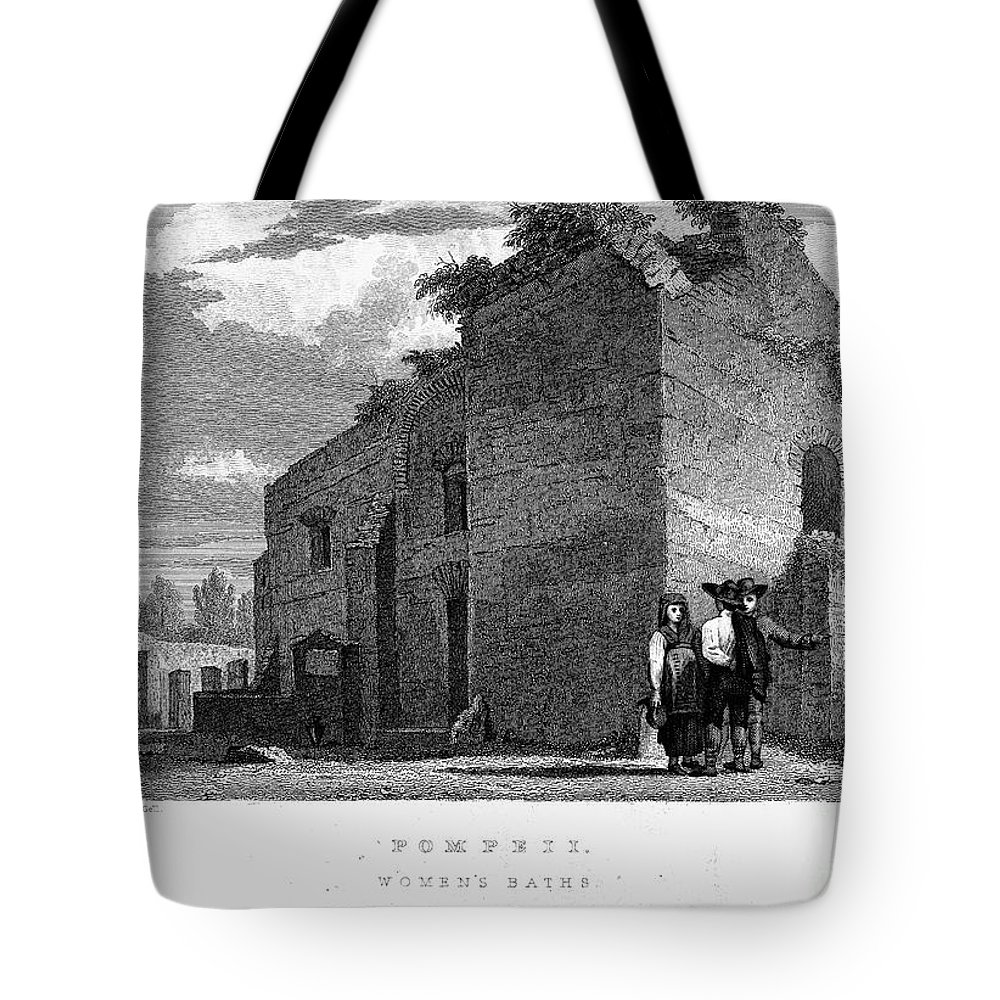 1830 Tote Bag featuring the photograph Pompeii: Bathhouse, C1830 by Granger
