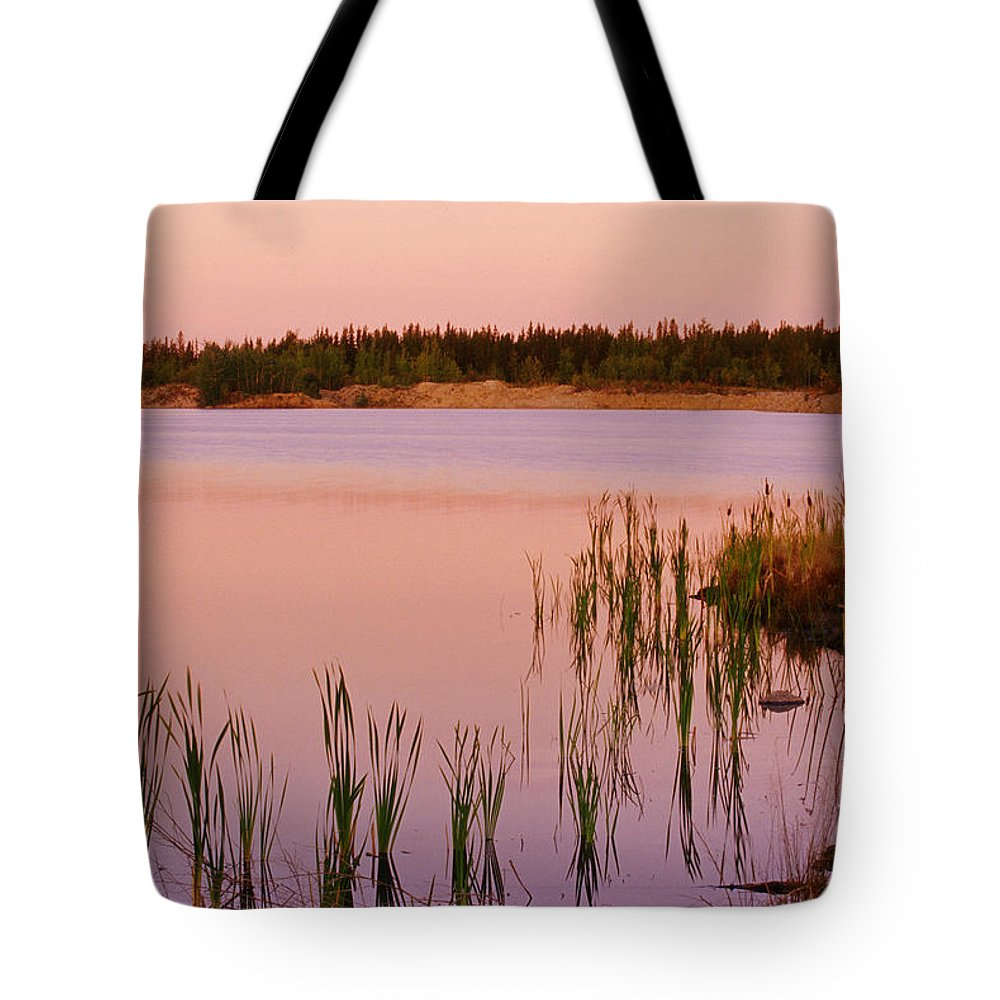 Color Images Tote Bag featuring the photograph Pond At Dawn, Northwest Territories by Mike Grandmailson