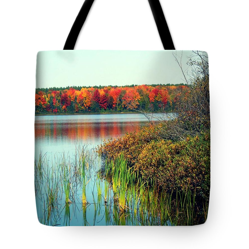Pure Michigan Tote Bag featuring the photograph Pond In The Woods In Autumn by Desiree Paquette