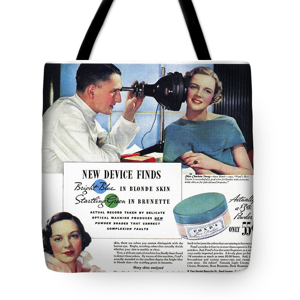 1934 Tote Bag featuring the photograph Ponds Face Powder, 1934 by Granger