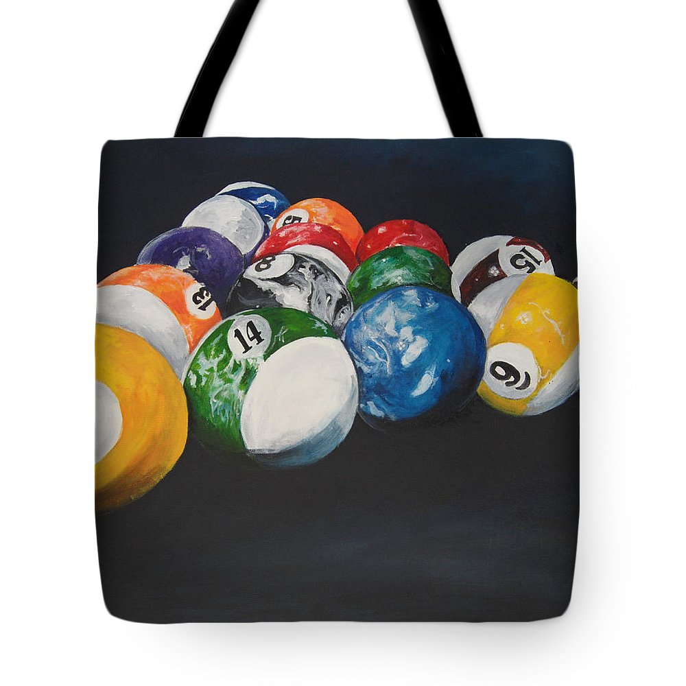 Pool Balls Tote Bag featuring the painting Pool Balls by Travis Day