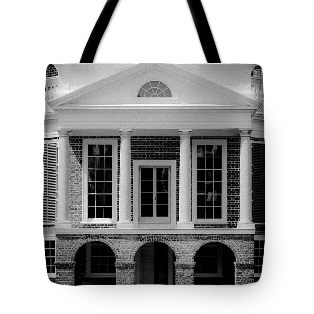 Poplar Forest Tote Bag featuring the photograph Poplar Forest South Portico Bw by Teresa Mucha