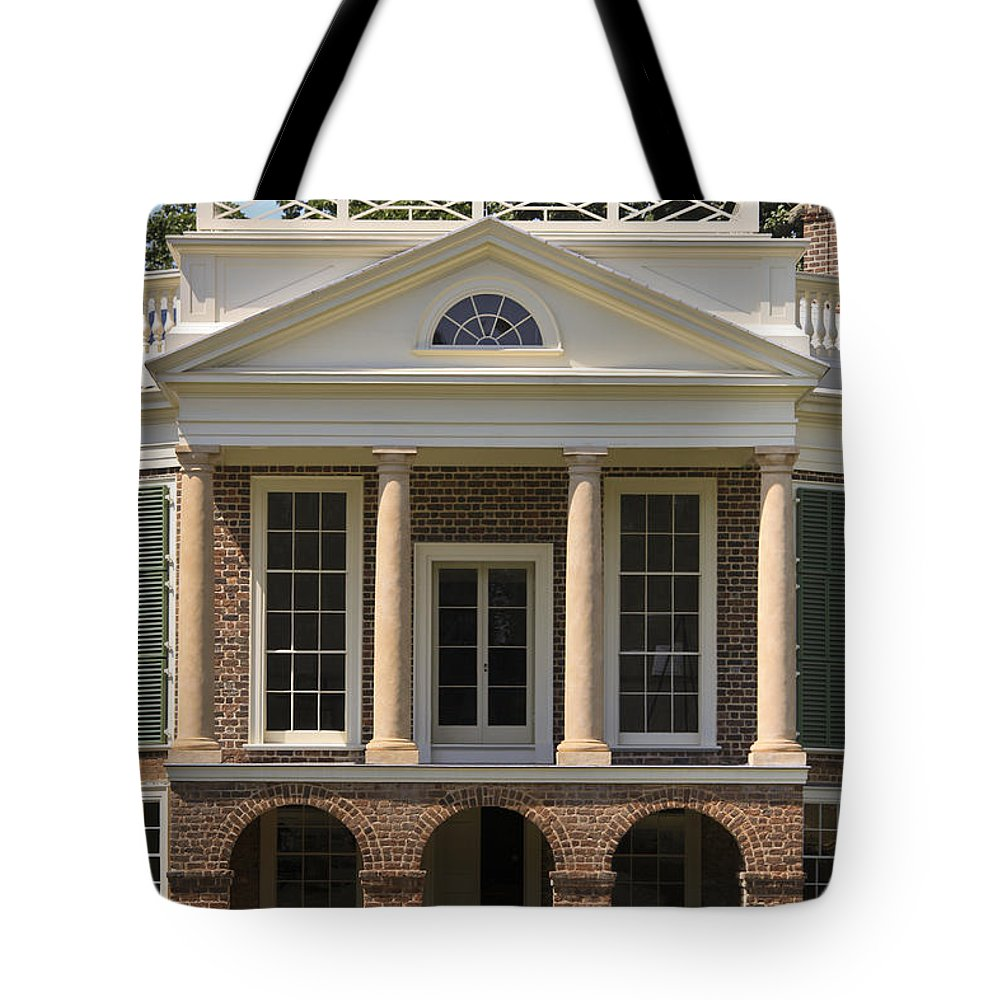 Poplar Forest Tote Bag featuring the photograph Poplar Forest South Portico by Teresa Mucha