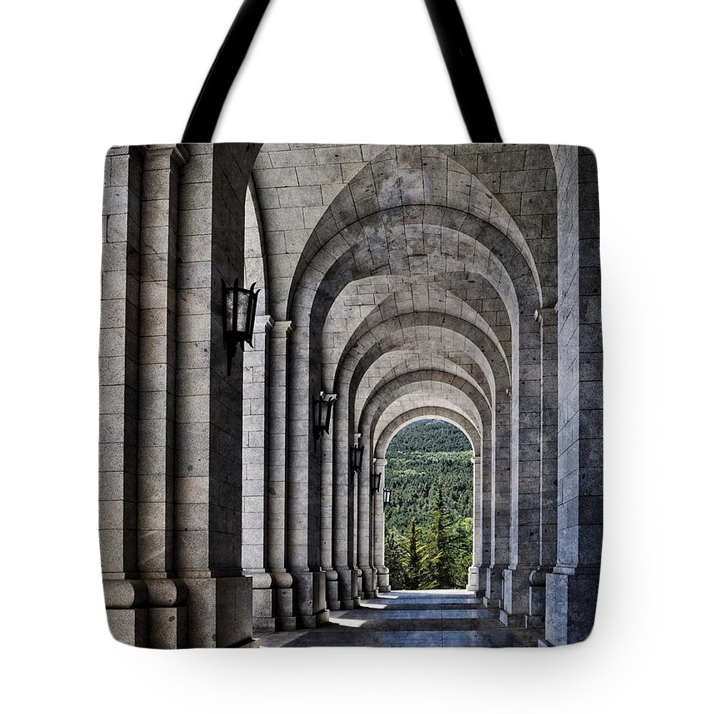 The Valley Of The Fallen Tote Bag featuring the photograph Portico From The Valley Of The Fallen by Mary Machare