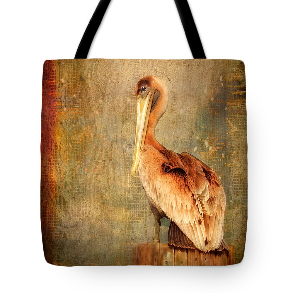 Pelican Tote Bag featuring the photograph Portrait Of A Pelican by Karen Lynch