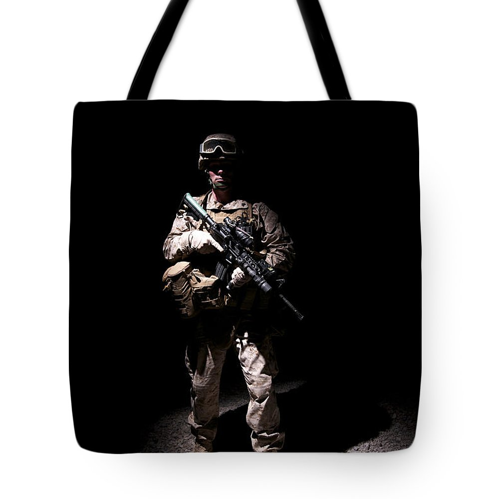 Afghanistan Tote Bag featuring the photograph Portrait Of A U.s. Marine In Uniform by Terry Moore