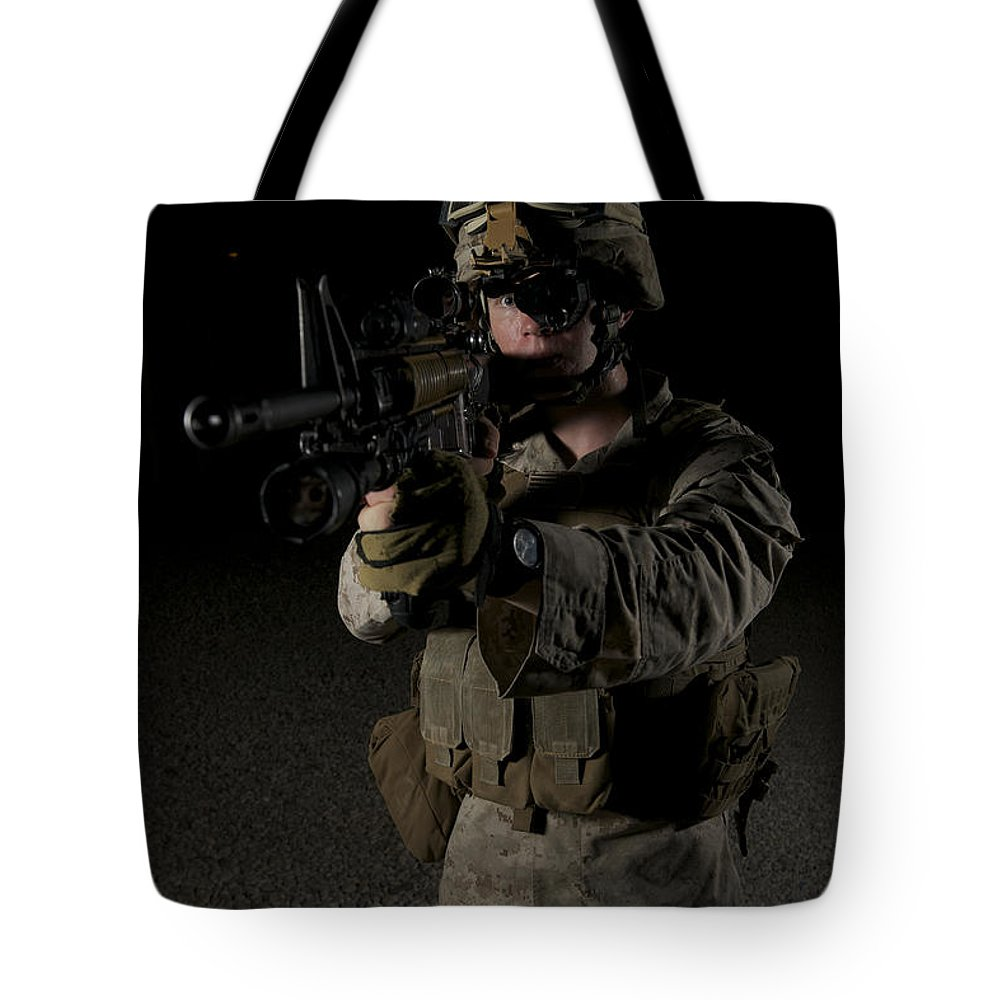 Night Tote Bag featuring the photograph Portrait Of A U.s. Marine Wearing Night by Terry Moore