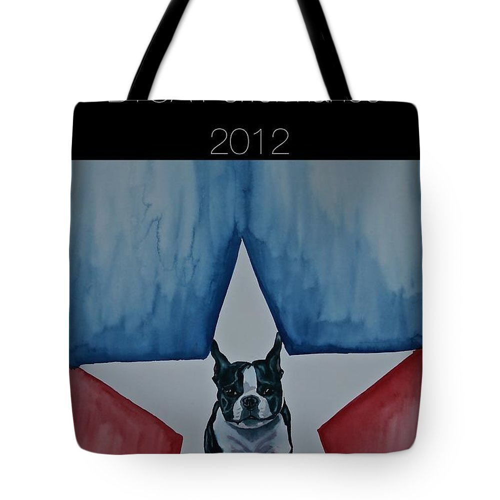 Boston Terrier Tote Bag featuring the painting Poster2 by Susan Herber