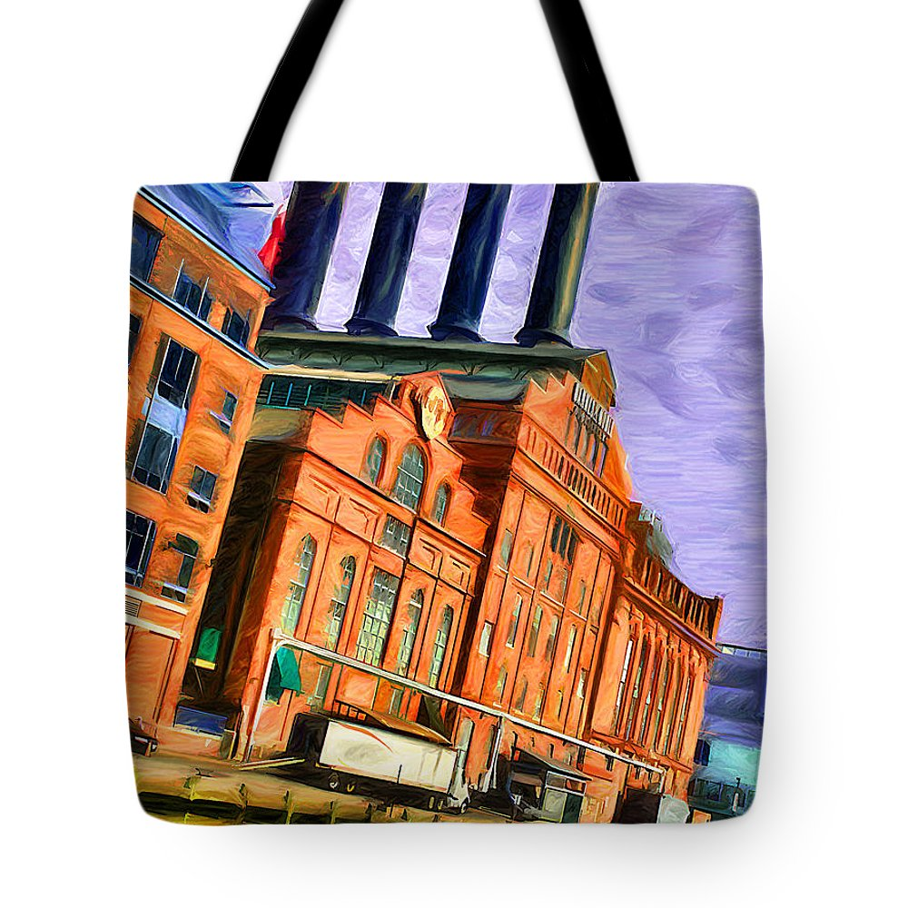 Baltimore Tote Bag featuring the digital art Power Plant by Stephen Younts