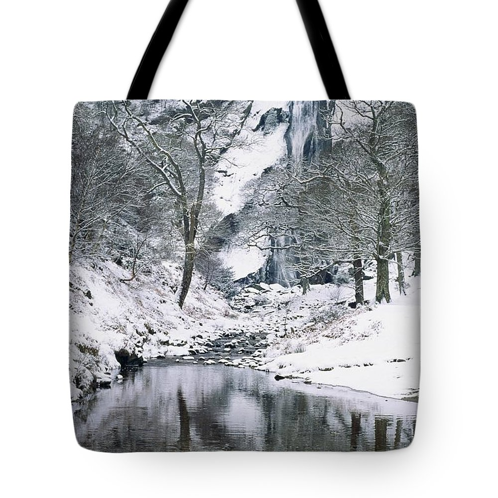 Snow Tote Bag featuring the photograph Powerscourt Waterfall In Winter, County by The Irish Image Collection