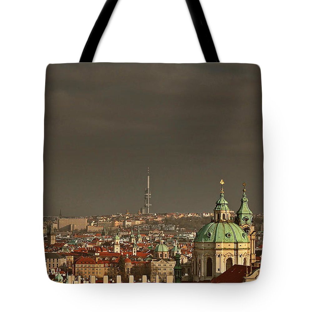 Roofs Tote Bag featuring the photograph Prague - A Symphony In Stone by Christine Till