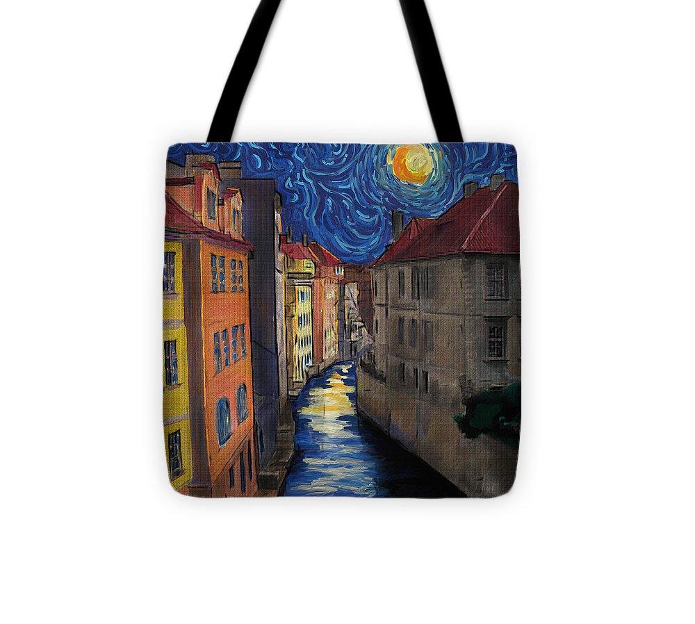 Prague Tote Bag featuring the digital art Prague By Moonlight by Jo-Anne Gazo-McKim