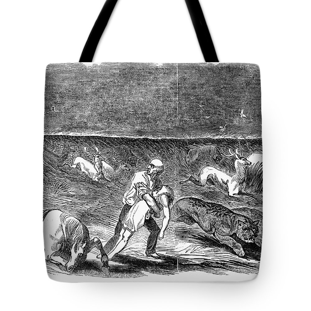 1844 Tote Bag featuring the photograph Prairie Fire, 1844 by Granger
