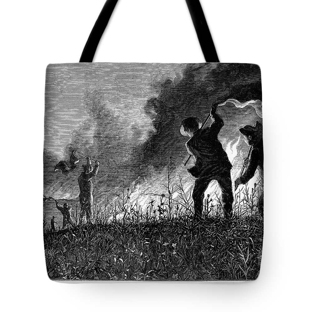 1874 Tote Bag featuring the photograph Prairie Fire, 1874 by Granger