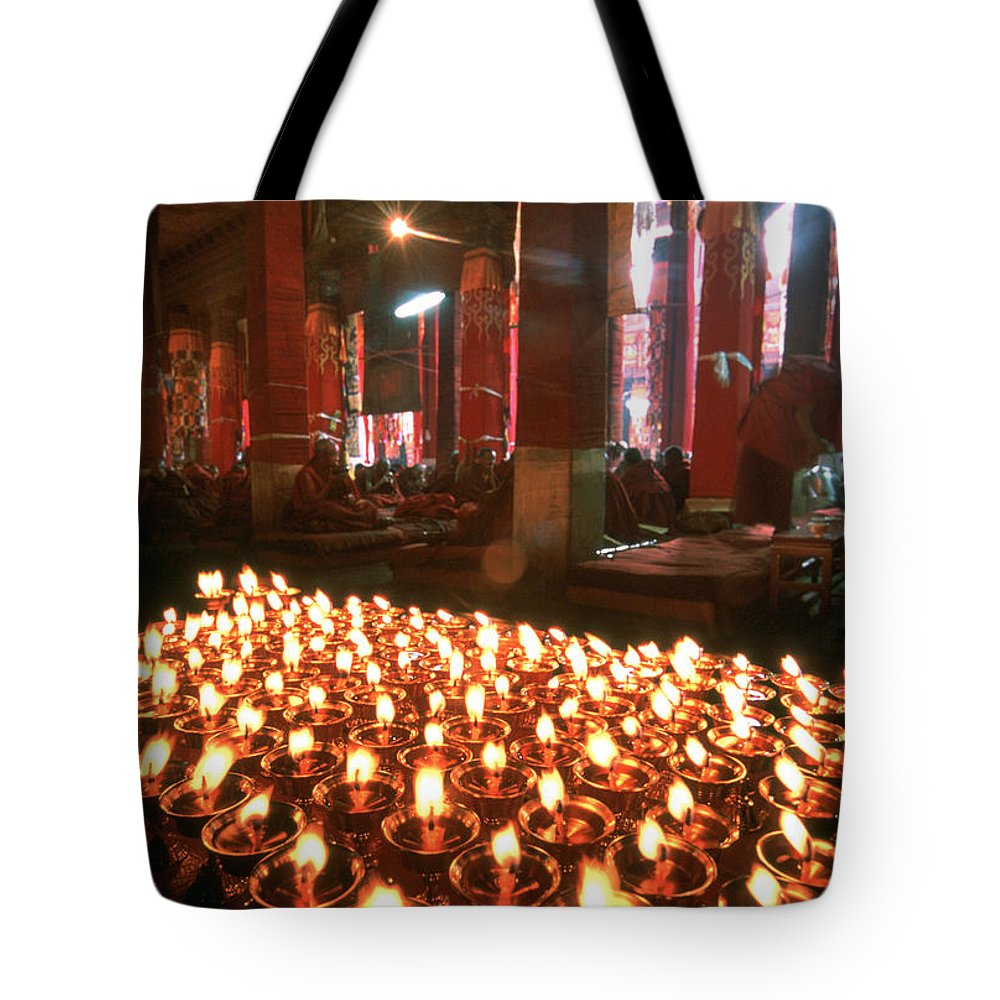 Prayer Candles In Drepung Monastery Tote Bag