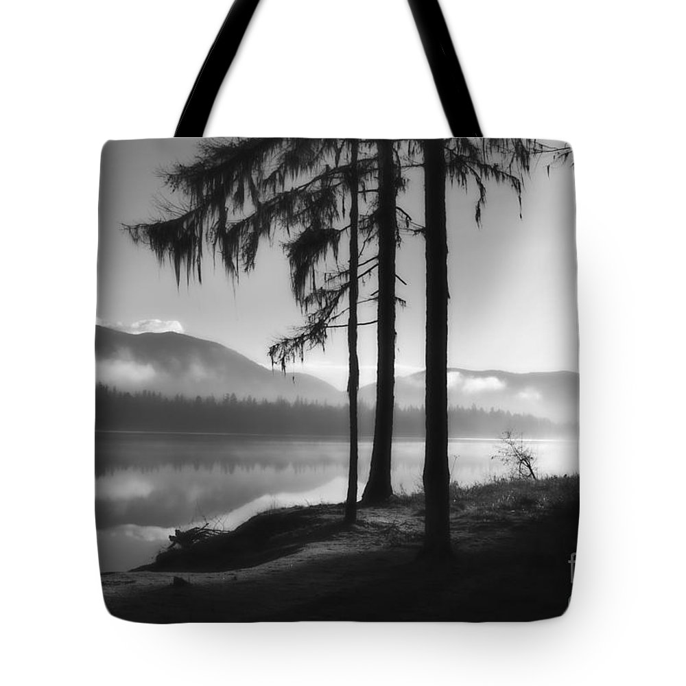 Seeley Lake Tote Bag featuring the photograph Pristine Serenity In Autumn by Janie Johnson