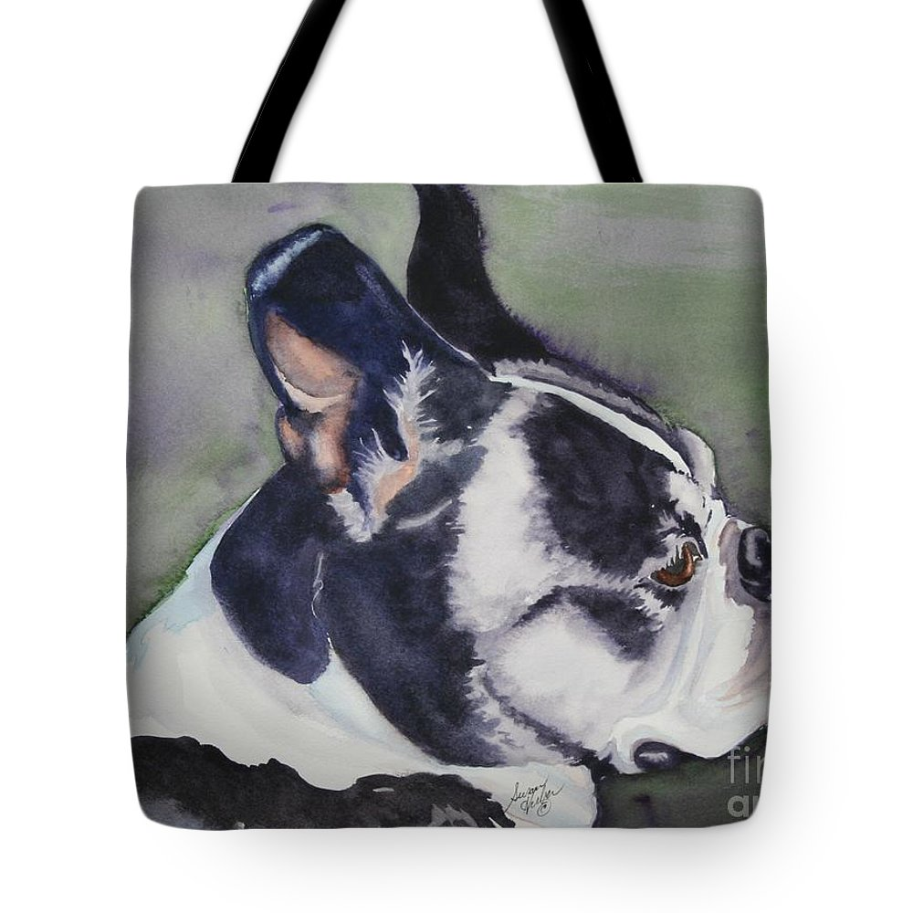 Boston Terrier Tote Bag featuring the painting Profile by Susan Herber