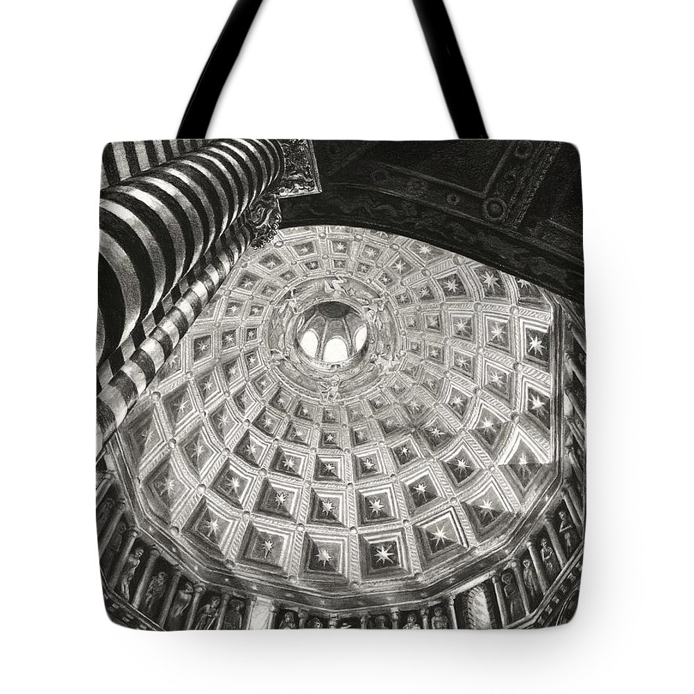 Duomo Di Siena Tote Bag featuring the drawing Prophets And Patriarchs by Norman Bean