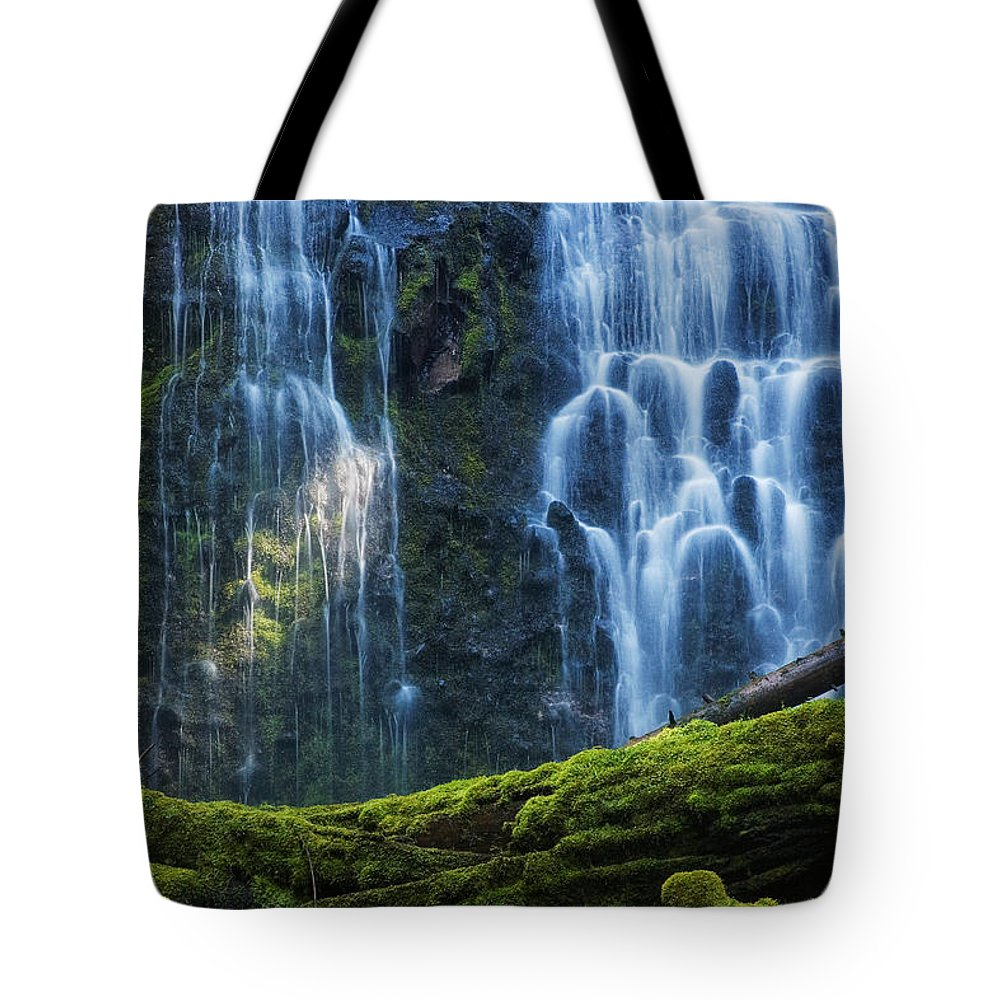 Central Oregon; Beautiful; Waterfall; Green; Moss; Nature; Oregon; Outdoors; Proxy Falls; Water; Wilderness; Beauty; Calm; Landscape; Pacific Northwest; Flow; Travel; Visit; Oregon; Cascade; Lower Falls; Lower Proxy Falls; Proxy Creek; Columnar Basalt; Vieled Waterfall; Moss Covered; Moss Covered Logs; Moss Covered Rocks Tote Bag featuring the photograph Proxy Falls by Mark Kiver