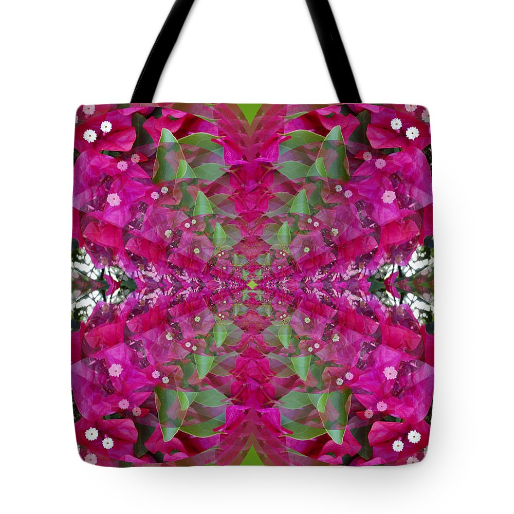 Abstract Tote Bag featuring the digital art Psychadelic Flower by George Pasini