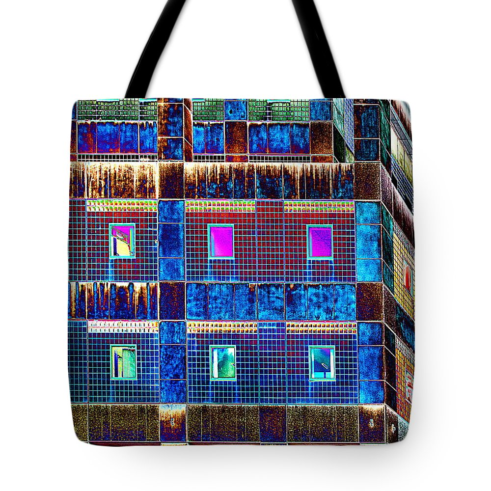 Building Tote Bag featuring the photograph Psychadelicstorage by Burney Lieberman