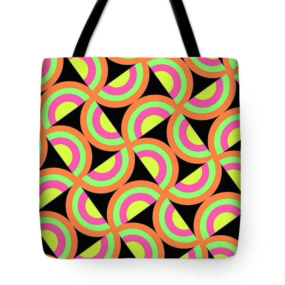 Psychedelic Squares (digital) By Louisa Knight (contemporary Artist) Tote Bag featuring the digital art Psychedelic Squares by Louisa Knight