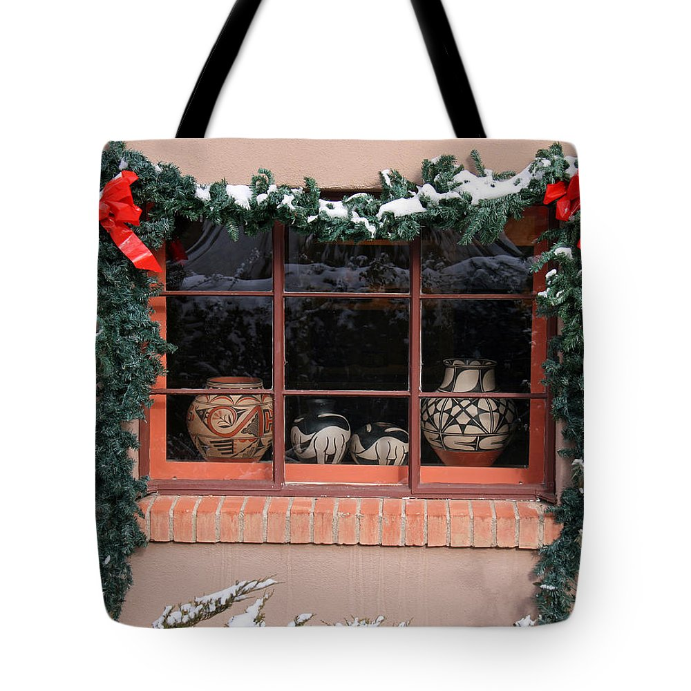 Canyon Road Tote Bag featuring the photograph Pueblo Pottery Winter Window by Elizabeth Rose