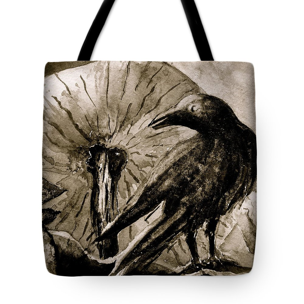 Crow Tote Bag featuring the painting Pumpkin And Crow by Beverley Harper Tinsley