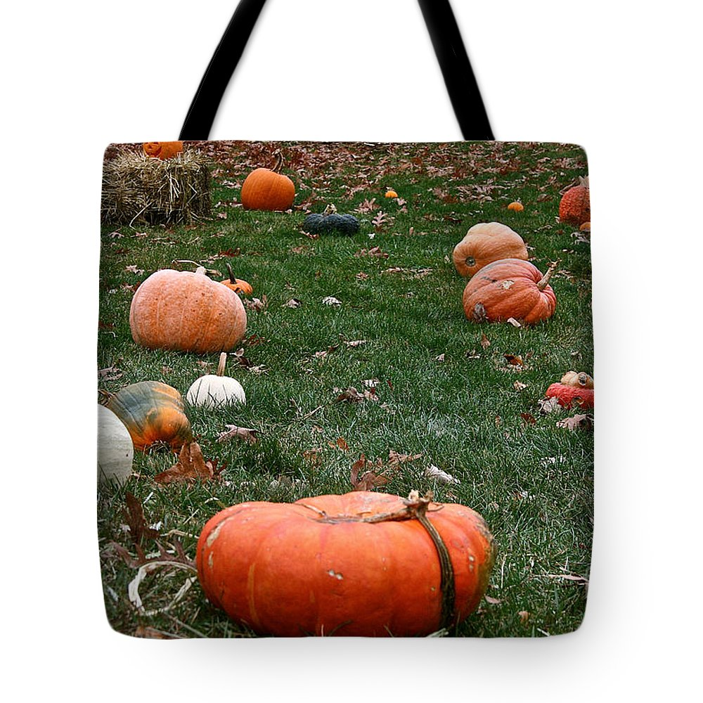 Outdoors Tote Bag featuring the photograph Pumpkin Field by Susan Herber