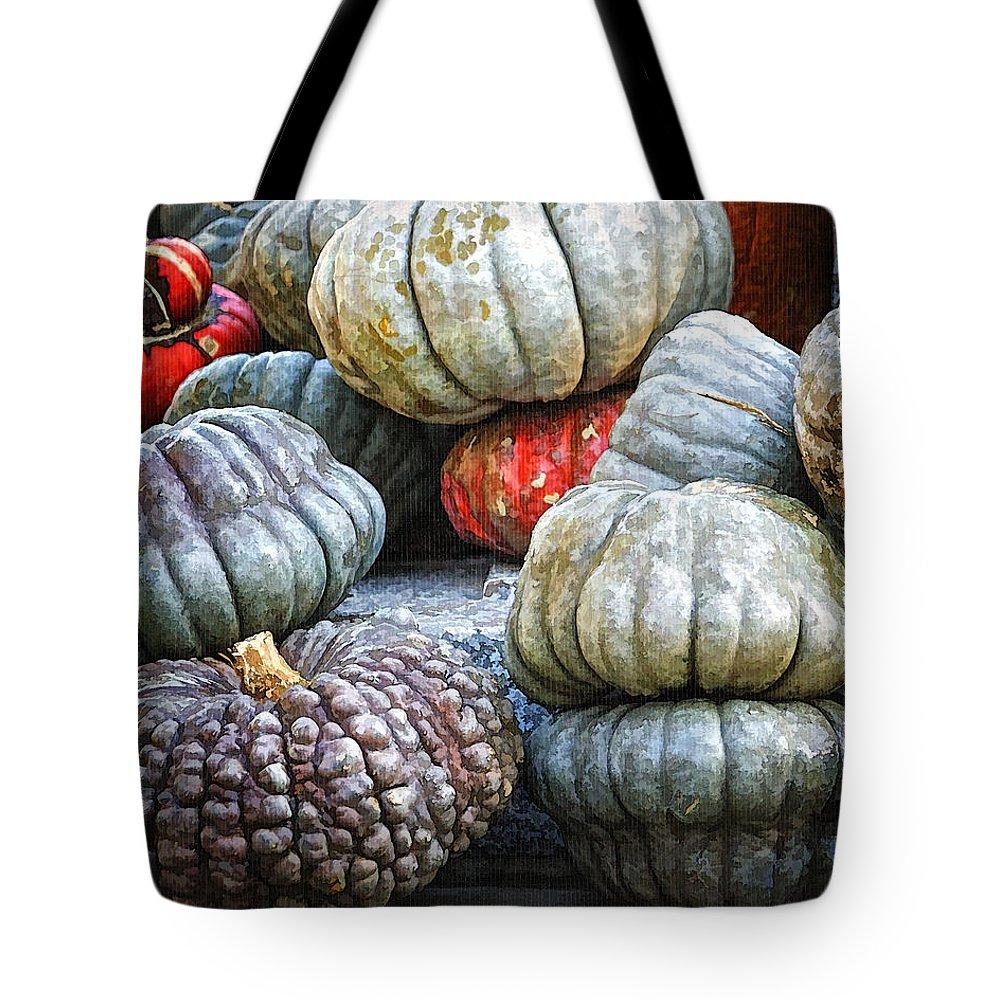 Autumn Tote Bag featuring the photograph Pumpkin Pile II by Joan Carroll