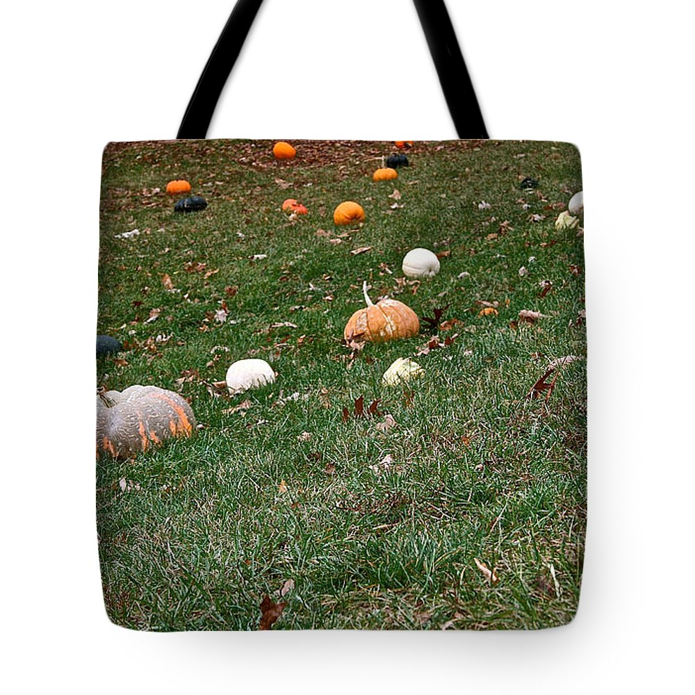 Outdoors Tote Bag featuring the photograph Pumpkins by Susan Herber
