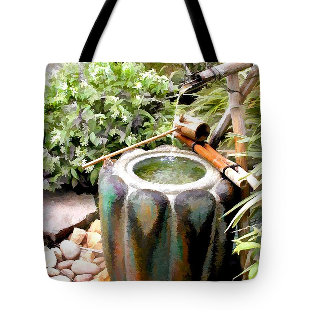 Japanese Garden Tote Bag featuring the painting Purification Basin For Tea Ceremony by Elaine Plesser