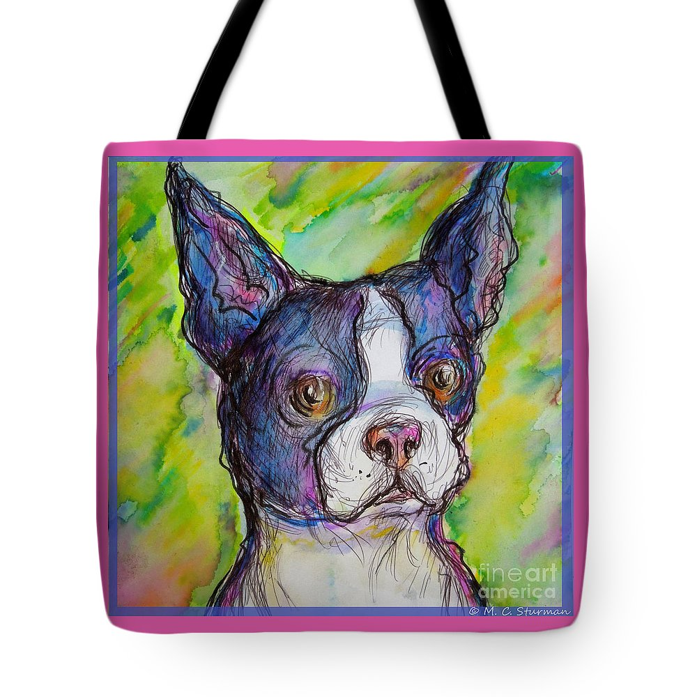 Bulldog Tote Bag featuring the painting Purple Boston Terrier by M c Sturman