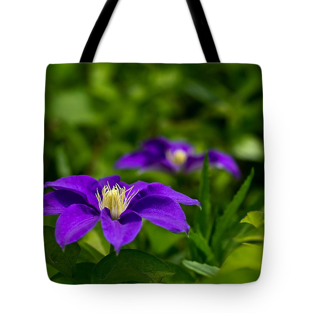 Bloom Tote Bag featuring the photograph Purple Clematis Flower by Lori Coleman