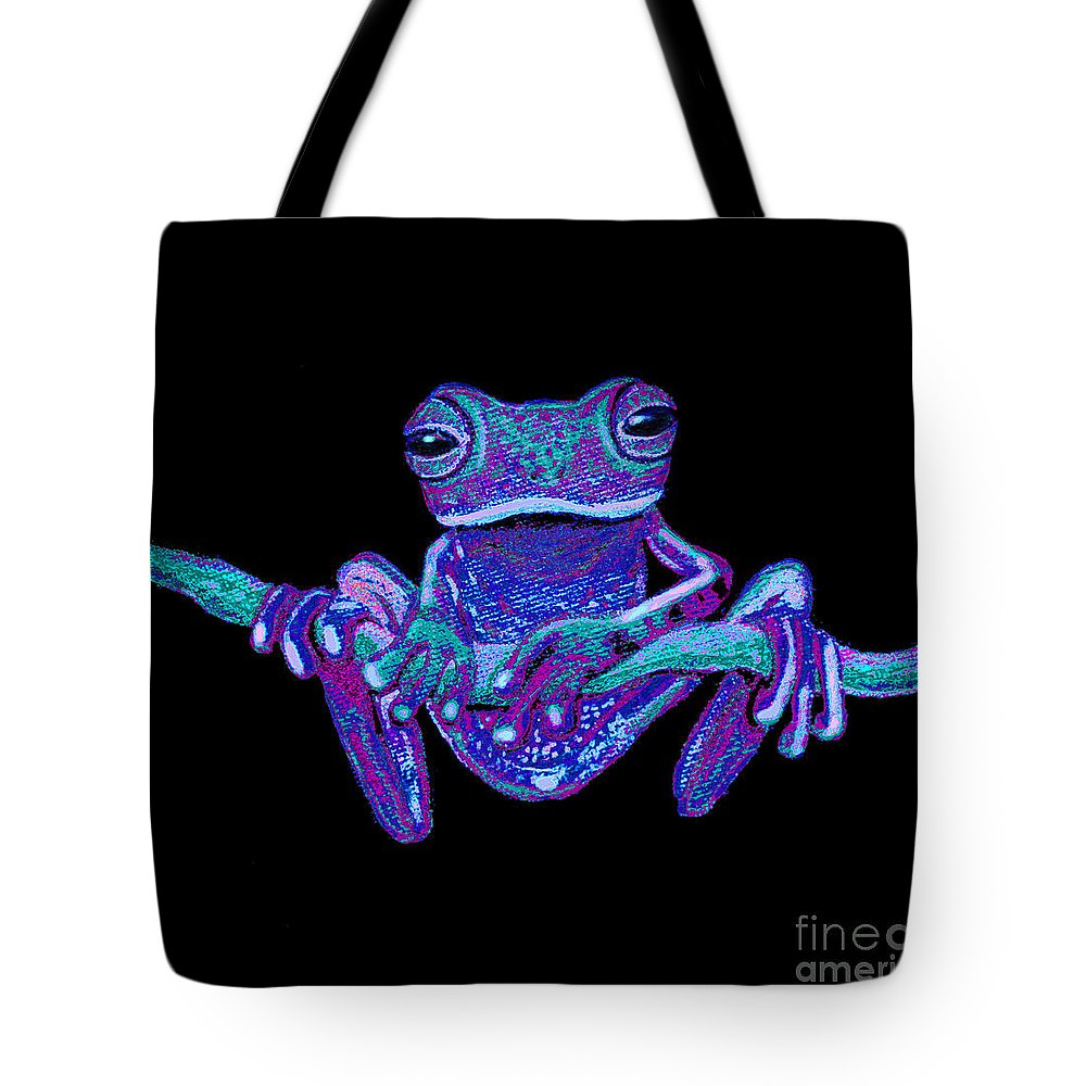 Frog Tote Bag featuring the painting Purple Ghost Frog by Nick Gustafson