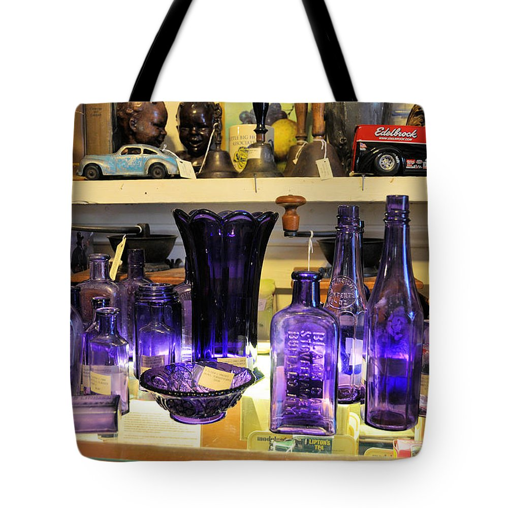 Still Life Tote Bag featuring the photograph Purple Glass Collection by Jan Amiss Photography