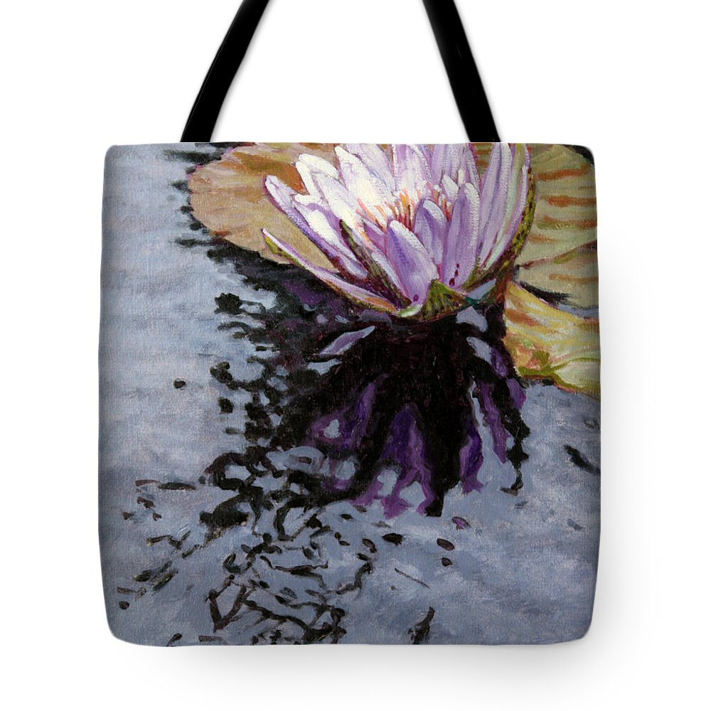 Water Lily Tote Bag featuring the painting Purple Lily with Ripples by John Lautermilch