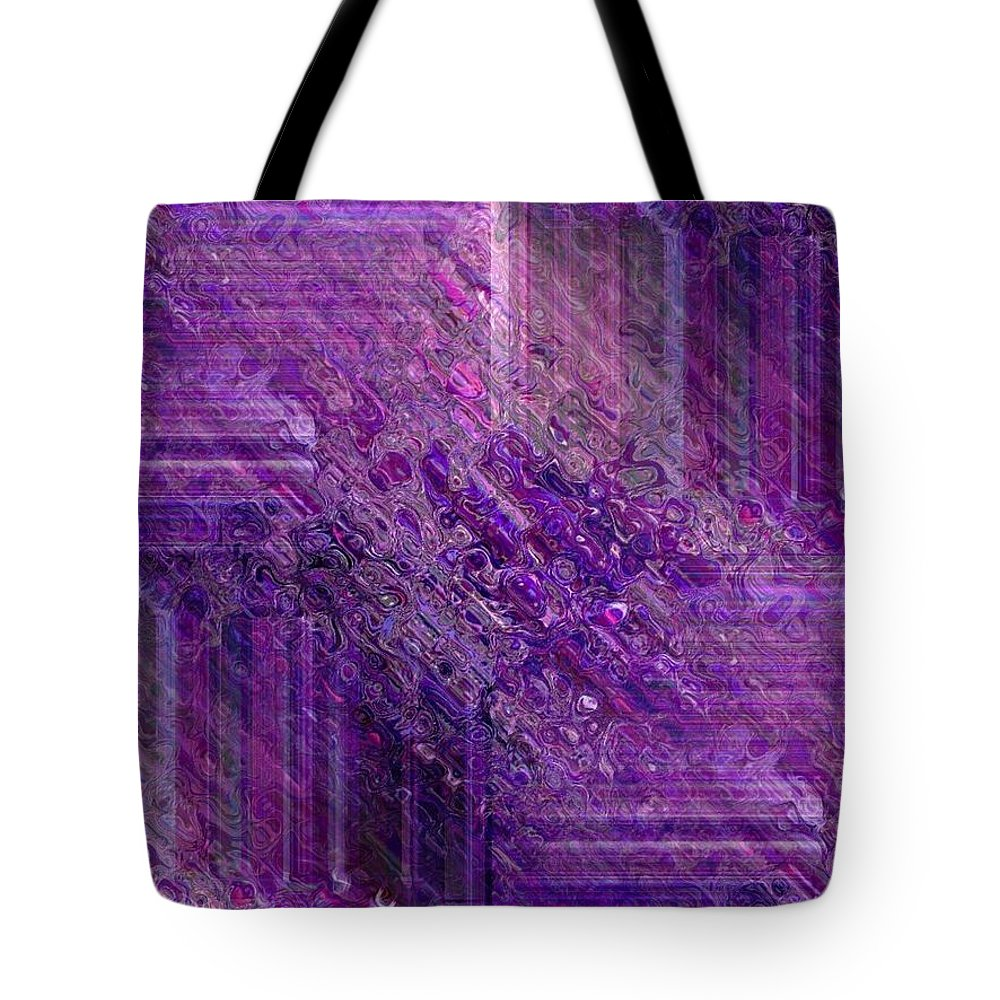 Abstract Tote Bag featuring the digital art Purple Mystique by Maria Urso