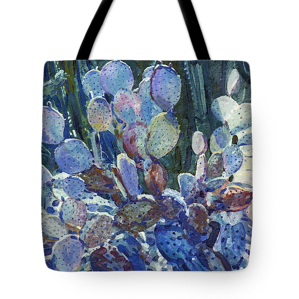 Cactus Tote Bag featuring the painting Purple Opuntia by Donald Maier