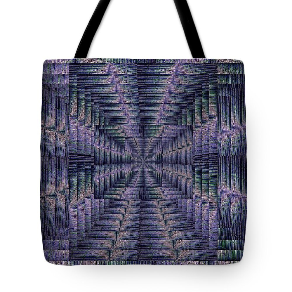 Abstract Tote Bag featuring the digital art Purple Portal by Tim Allen