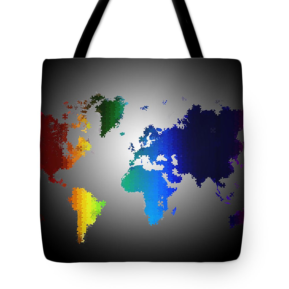 World Map Tote Bag featuring the painting Puzzle World Treasure Map by Adam Vance