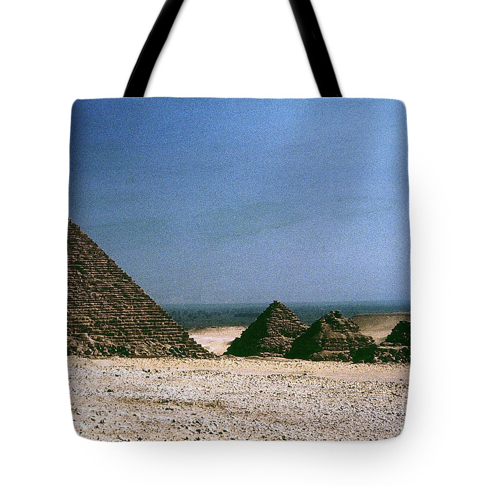 4th Dynasty Tote Bag featuring the photograph Pyramid Of Mykerinos by Granger