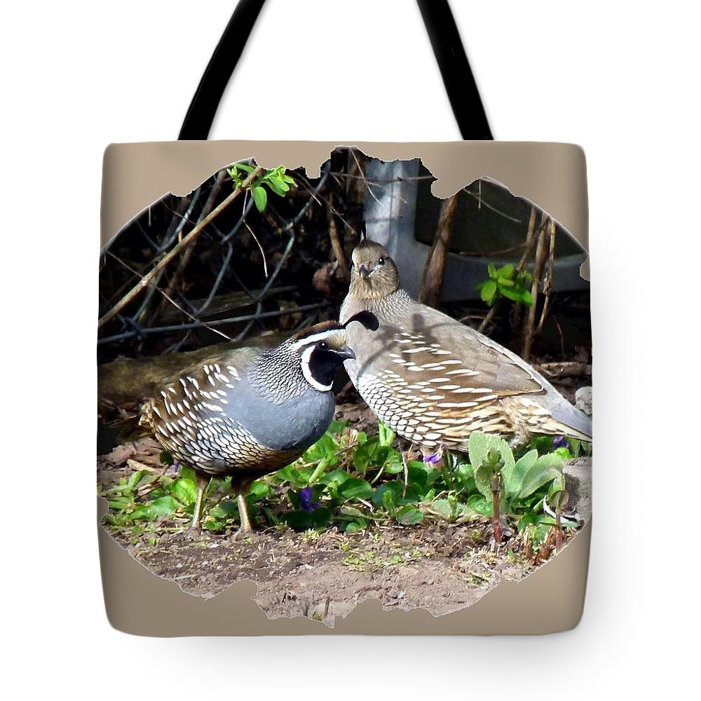 Quail Mates Tote Bag featuring the photograph Quail Mates by Will Borden