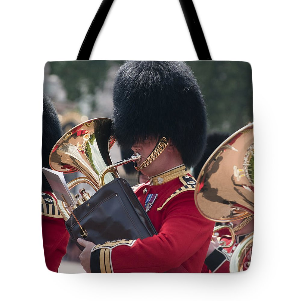 Britain Tote Bag featuring the photograph Queens Guards Band by Andrew Michael