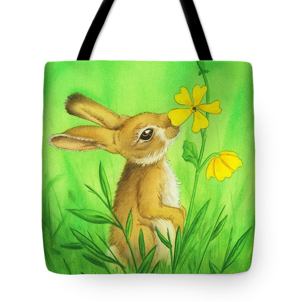 Rabbit Tote Bag featuring the painting Rabbit And Flower by Stacy Drum