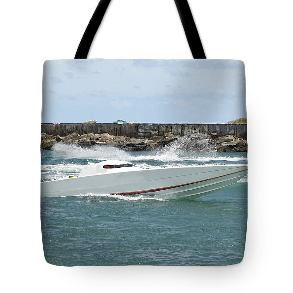 Speed Tote Bag featuring the photograph Race Boat by Rudy Umans