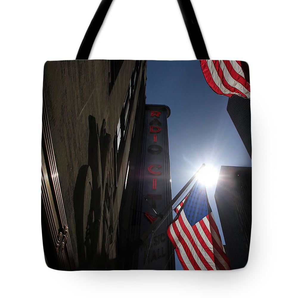 New York Tote Bag featuring the photograph Radio City Music Hall 1 by Andrew Fare