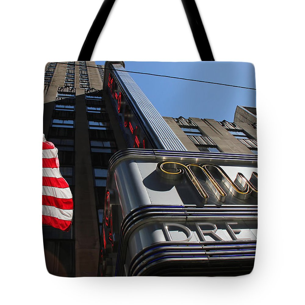 New York Tote Bag featuring the photograph Radio City Music Hall 2 by Andrew Fare