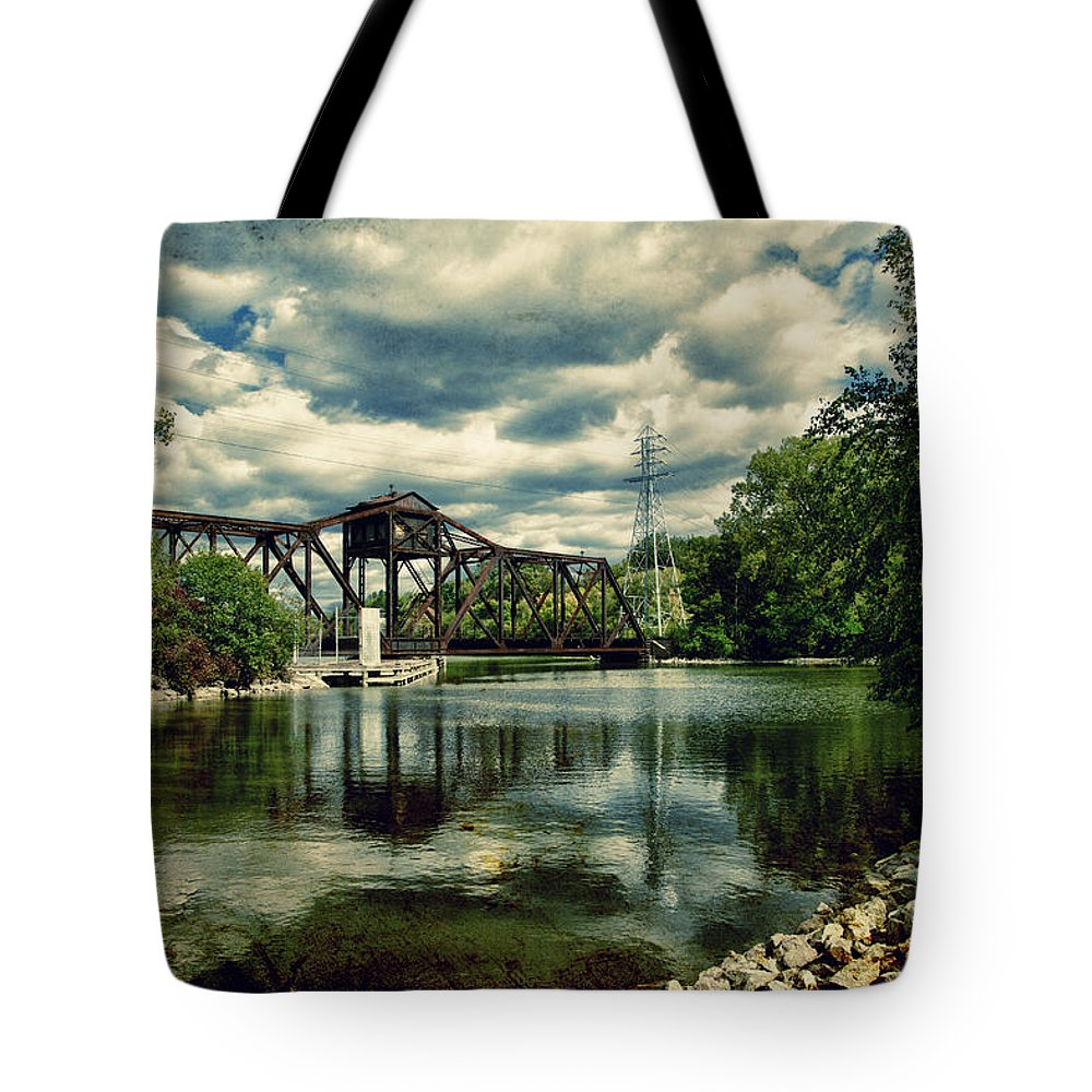 Bridge Tote Bag featuring the photograph Rail Swing Bridge by Joel Witmeyer