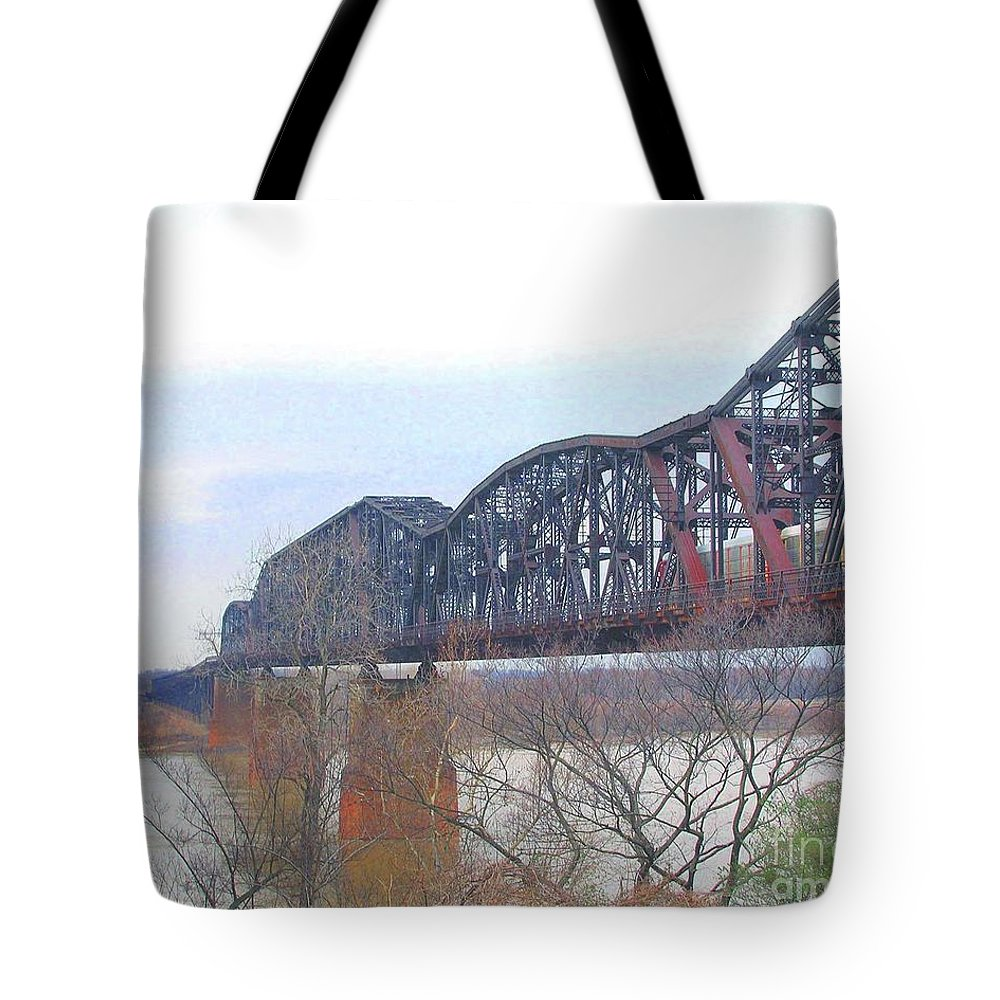 Memphis Tote Bag featuring the digital art Railroad Bridge by Lizi Beard-Ward